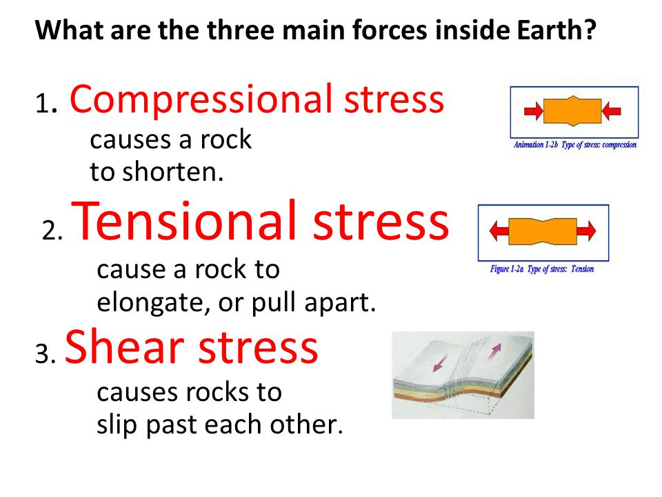 What are the three main forces inside Earth? 1. Compressional stress causes a rock to shorten. 2. Tensional stress cause a rock to elongate, or pull a