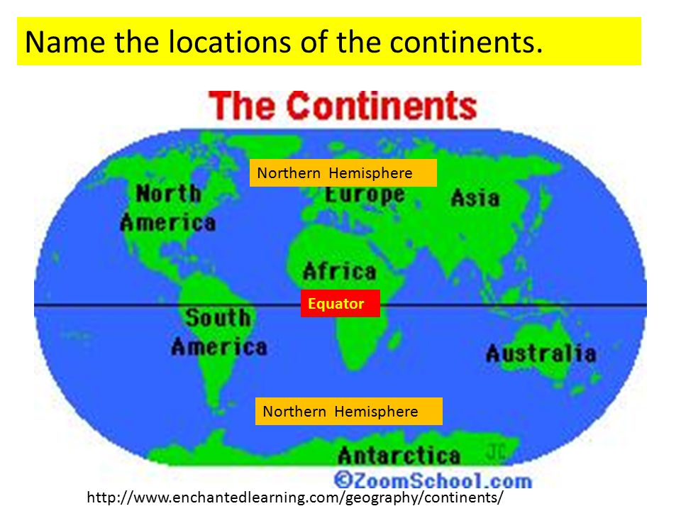 http://www.enchantedlearning.com/geography/continents/ Name the locations of the continents. Northern Hemisphere Equator Northern Hemisphere