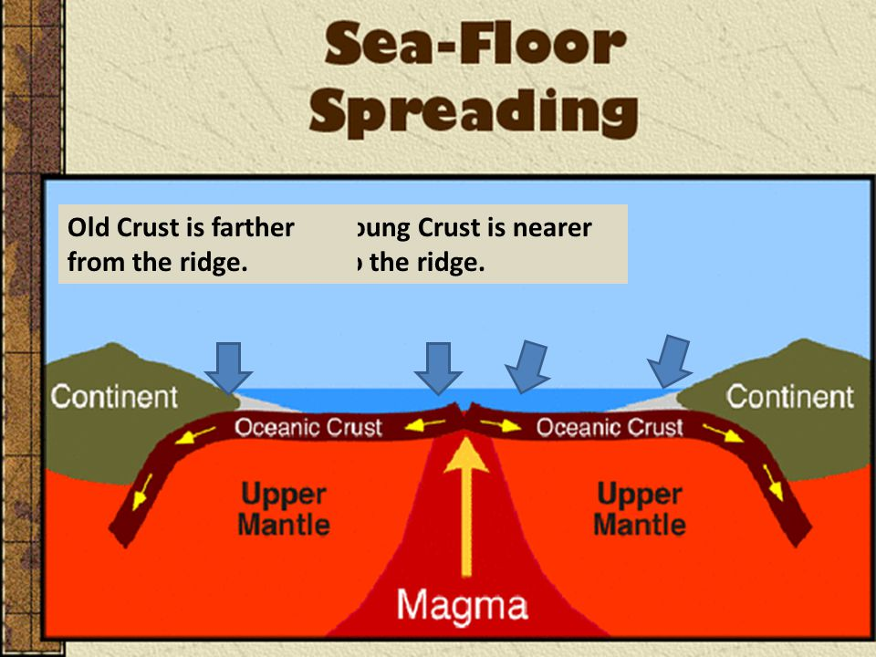 Young Crust is nearer to the ridge. Old Crust is farther from the ridge.
