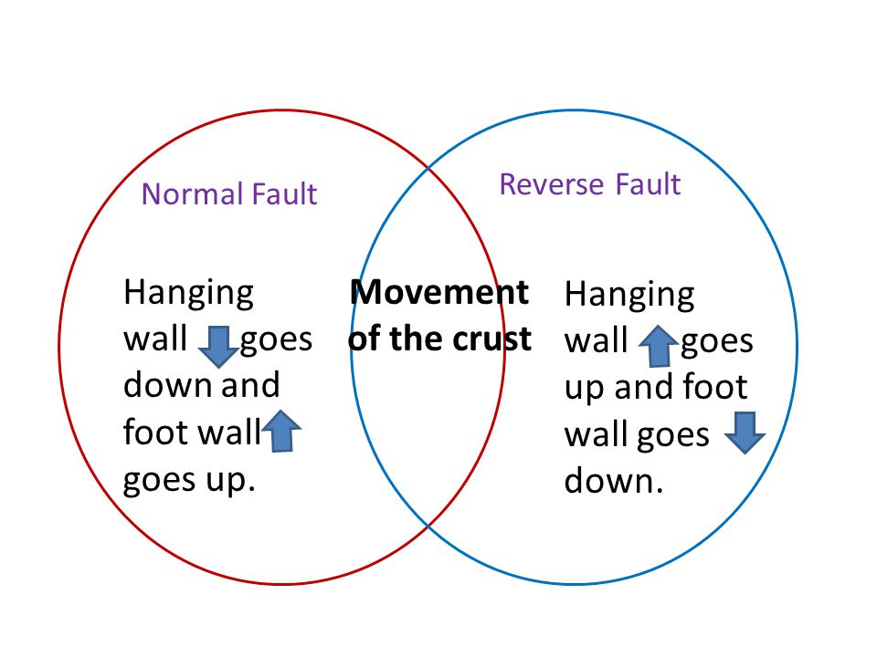 Normal Fault Reverse Fault Movement of the crust Hanging wall goes down and foot wall goes up. Hanging wall goes up and foot wall goes down.