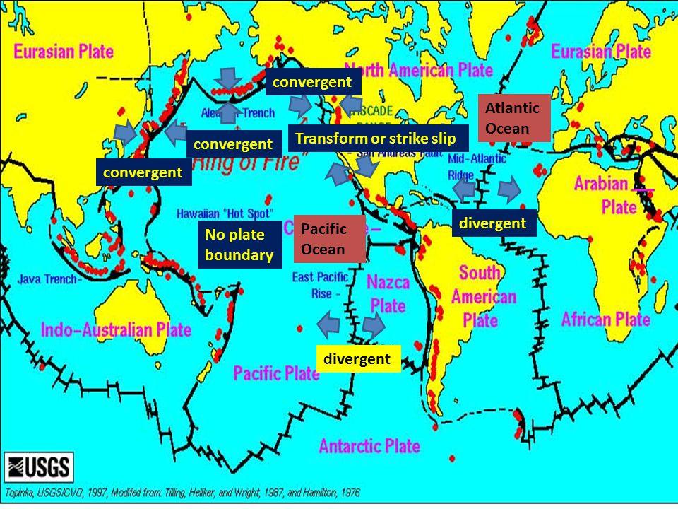 divergent No plate boundary convergent Transform or strike slip convergent Atlantic Ocean Pacific Ocean