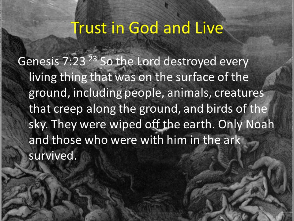 Trust in God and Live Genesis 7:23 23 So the Lord destroyed every living thing that was on the surface of the ground, including people, animals, creat