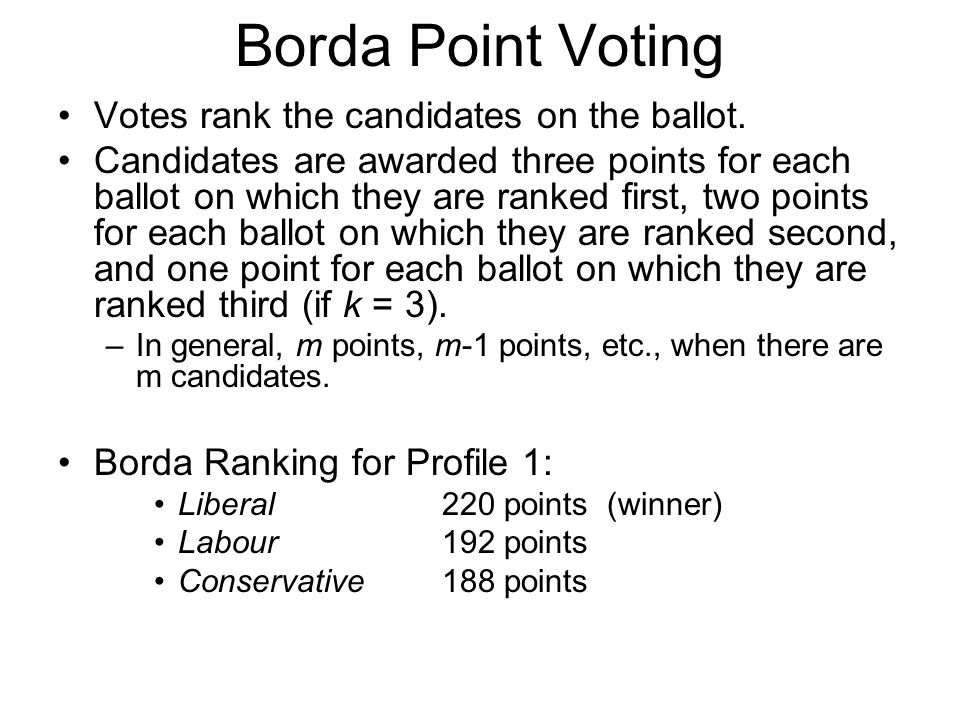 Borda Point Voting Votes rank the candidates on the ballot.