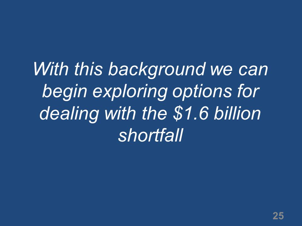 25 With this background we can begin exploring options for dealing with the $1.6 billion shortfall