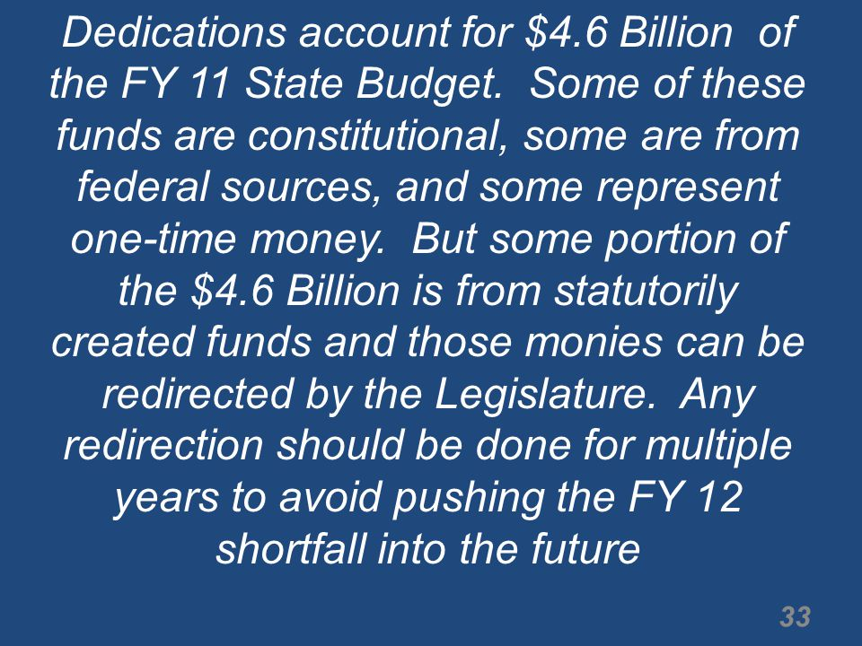 Dedications account for $4.6 Billion of the FY 11 State Budget.
