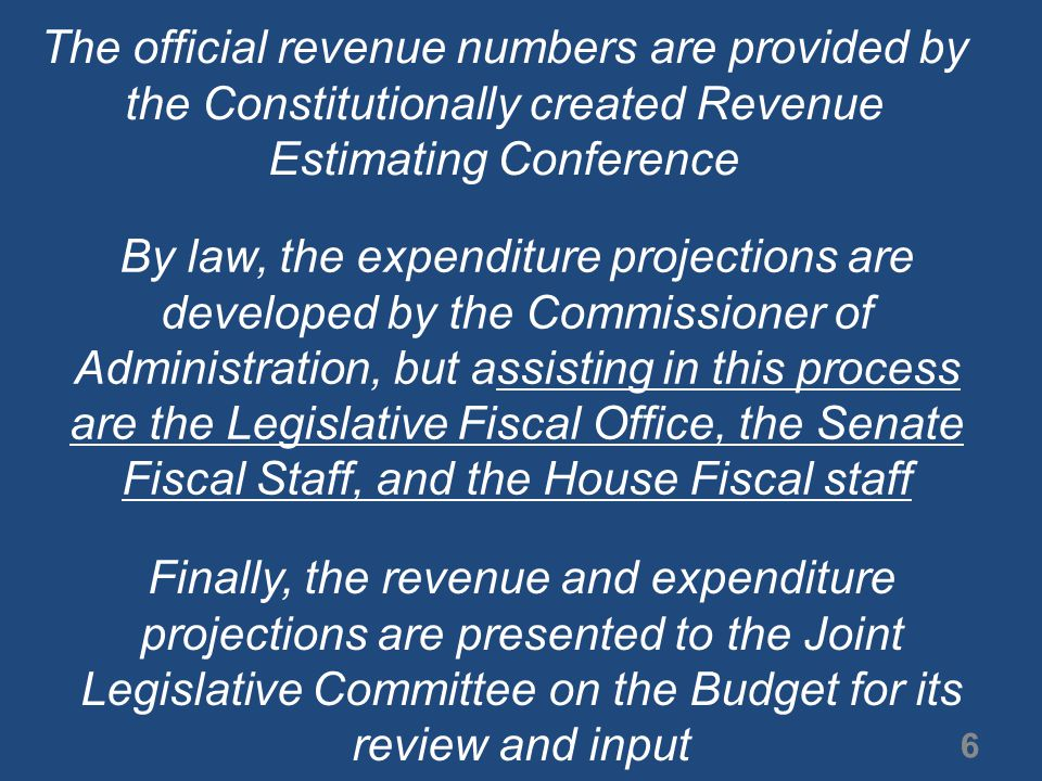 The Five-Year Base-Line Budget Report shows a shortfall of $1.6 billion for the FY that begins on July 1, 2011 7 This projected shortfall of $1.6 billion will be the subject of considerable speculation and discussion between now and when the legislature convenes on the third Monday of April, 2011 The remainder of this presentation lays the groundwork for those discussions