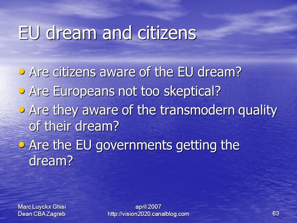 Marc Luyckx Ghisi Dean CBA Zagreb april 2007 http://vision2020.canalblog.com63 EU dream and citizens Are citizens aware of the EU dream.