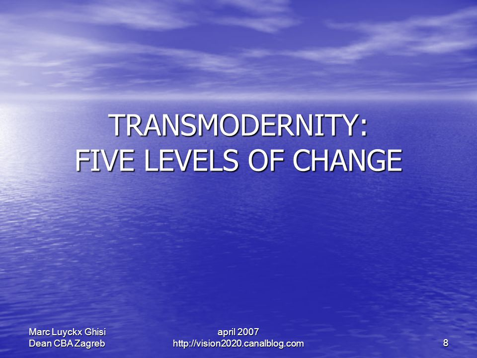 april 2007 http://vision2020.canalblog.com 8 Marc Luyckx Ghisi Dean CBA Zagreb TRANSMODERNITY: FIVE LEVELS OF CHANGE