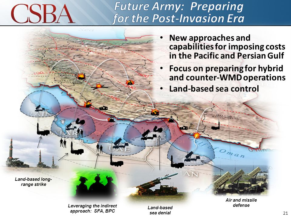 Leveraging the indirect approach: SFA, BPC Land-based long- range strike Land-based sea denial Air and missile defense New approaches and capabilities for imposing costs in the Pacific and Persian Gulf Focus on preparing for hybrid and counter-WMD operations Land-based sea control 21