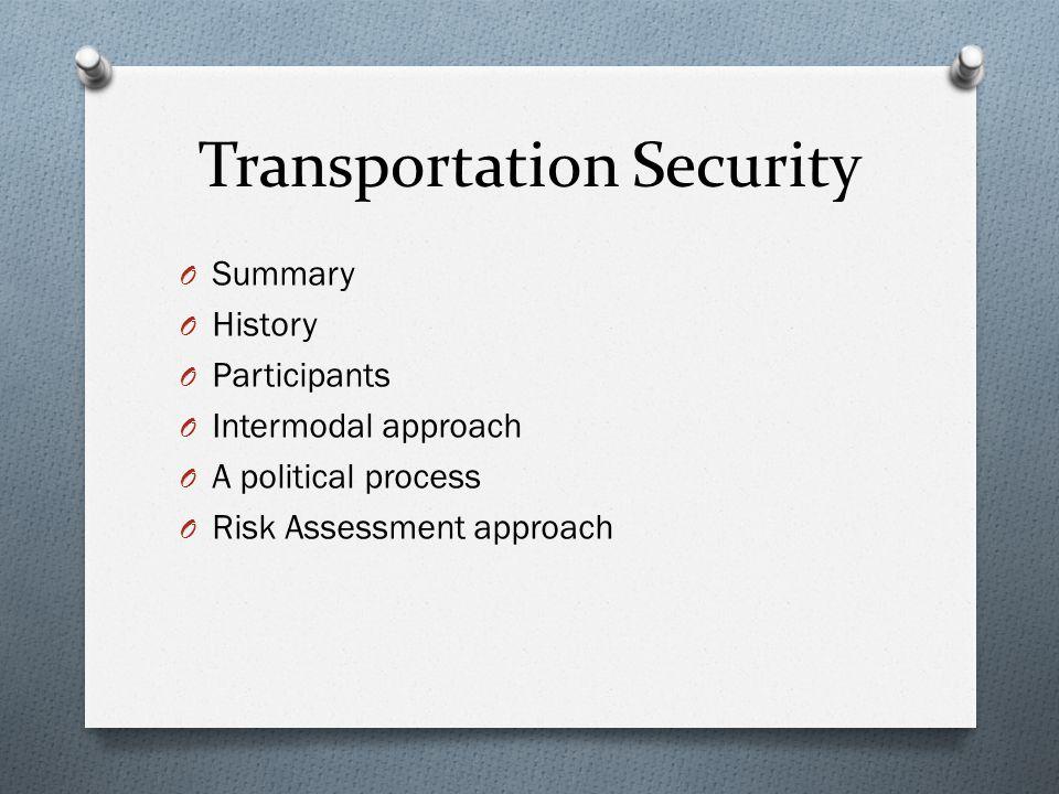 O Summary O History O Participants O Intermodal approach O A political process O Risk Assessment approach