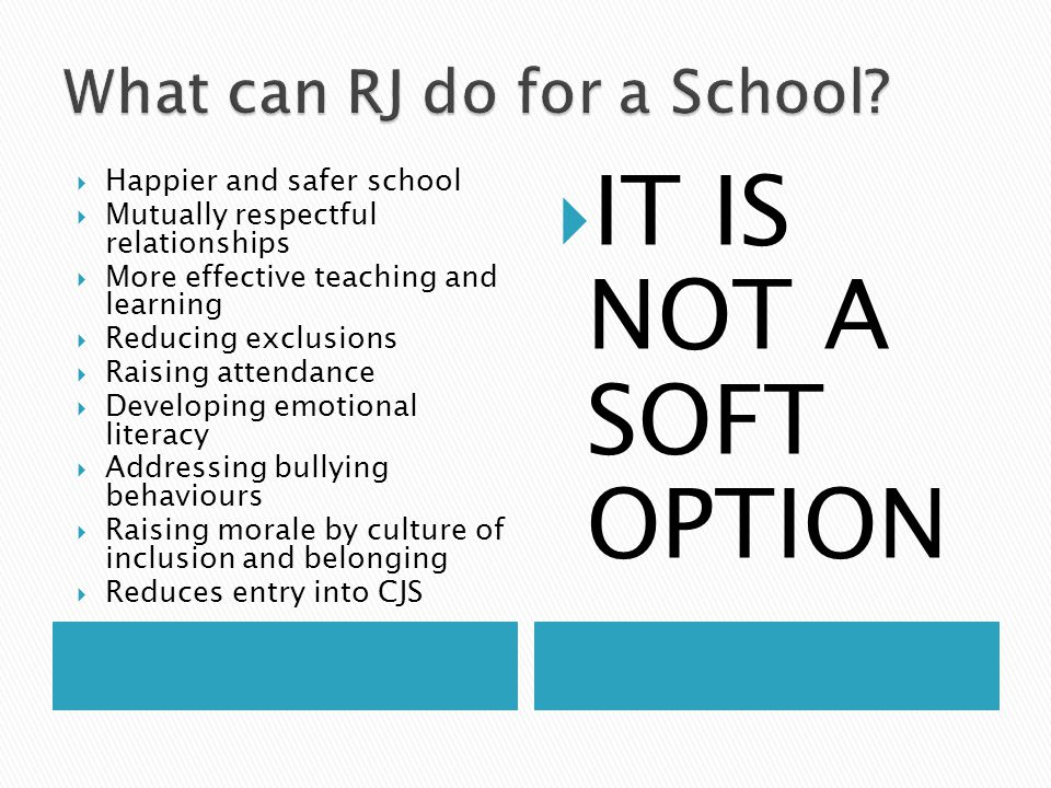  Happier and safer school  Mutually respectful relationships  More effective teaching and learning  Reducing exclusions  Raising attendance  Dev