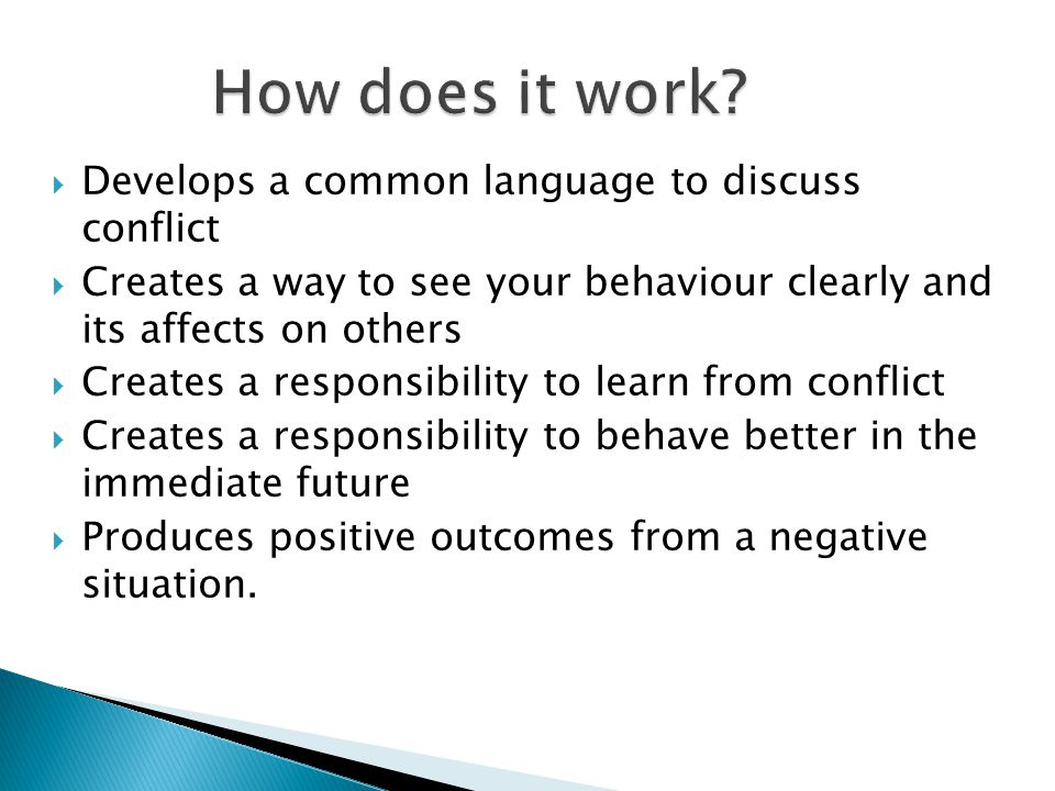  Develops a common language to discuss conflict  Creates a way to see your behaviour clearly and its affects on others  Creates a responsibility to