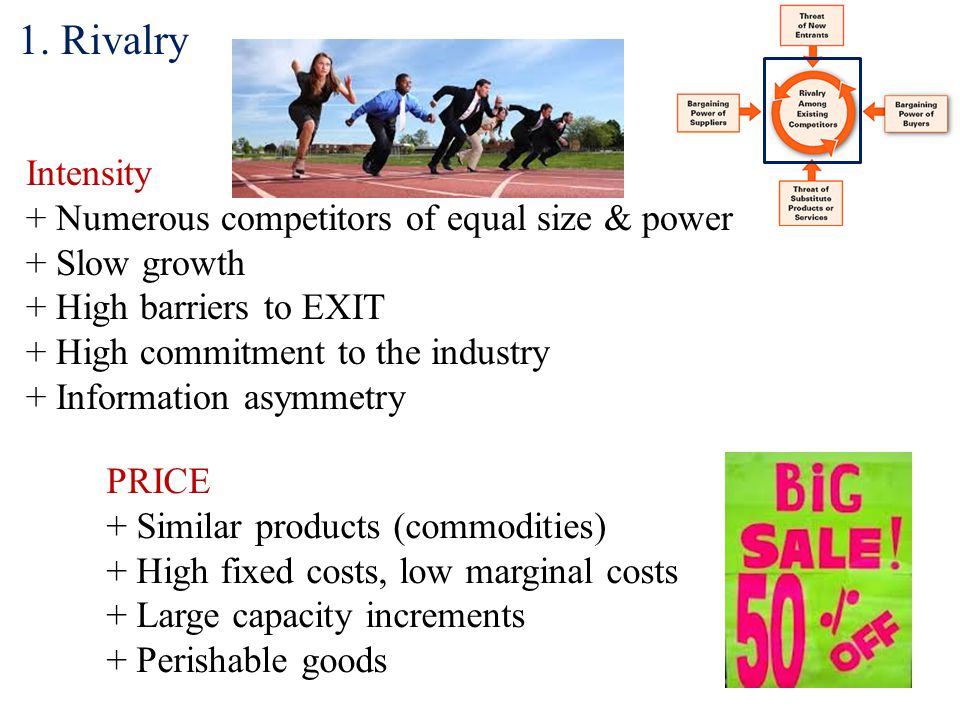 1. Rivalry Intensity + Numerous competitors of equal size & power + Slow growth + High barriers to EXIT + High commitment to the industry + Informatio