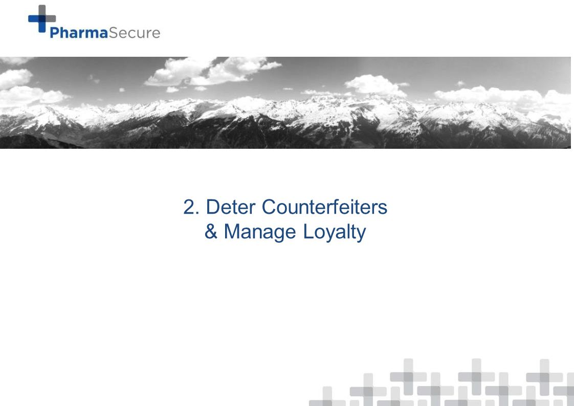 Data as of 24 th January, 2014 2. Deter Counterfeiters & Manage Loyalty