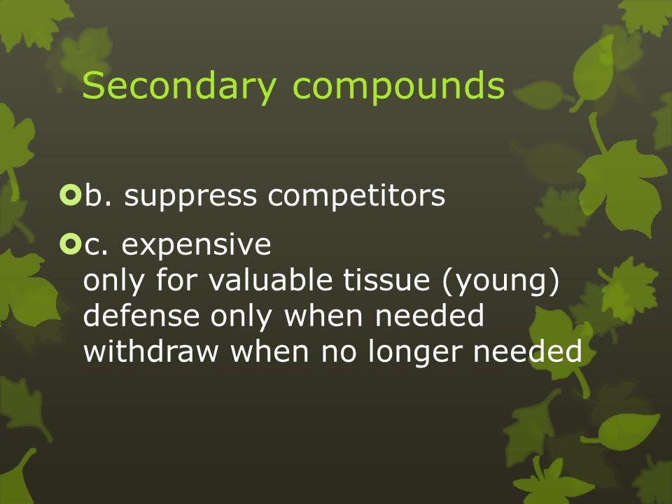 Secondary compounds  b. suppress competitors  c.