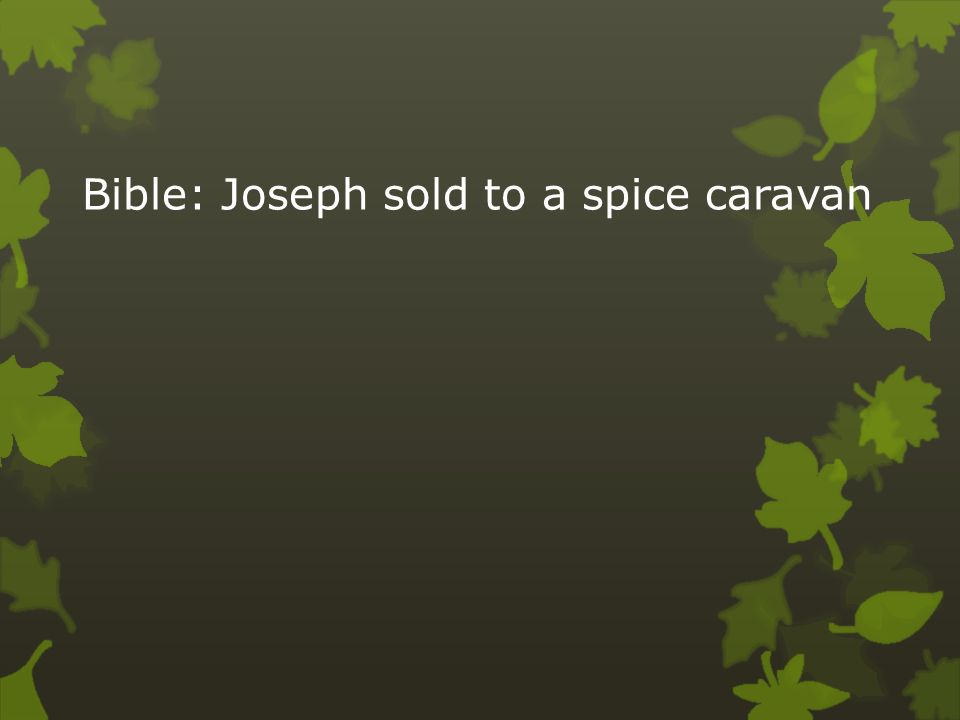 Bible: Joseph sold to a spice caravan