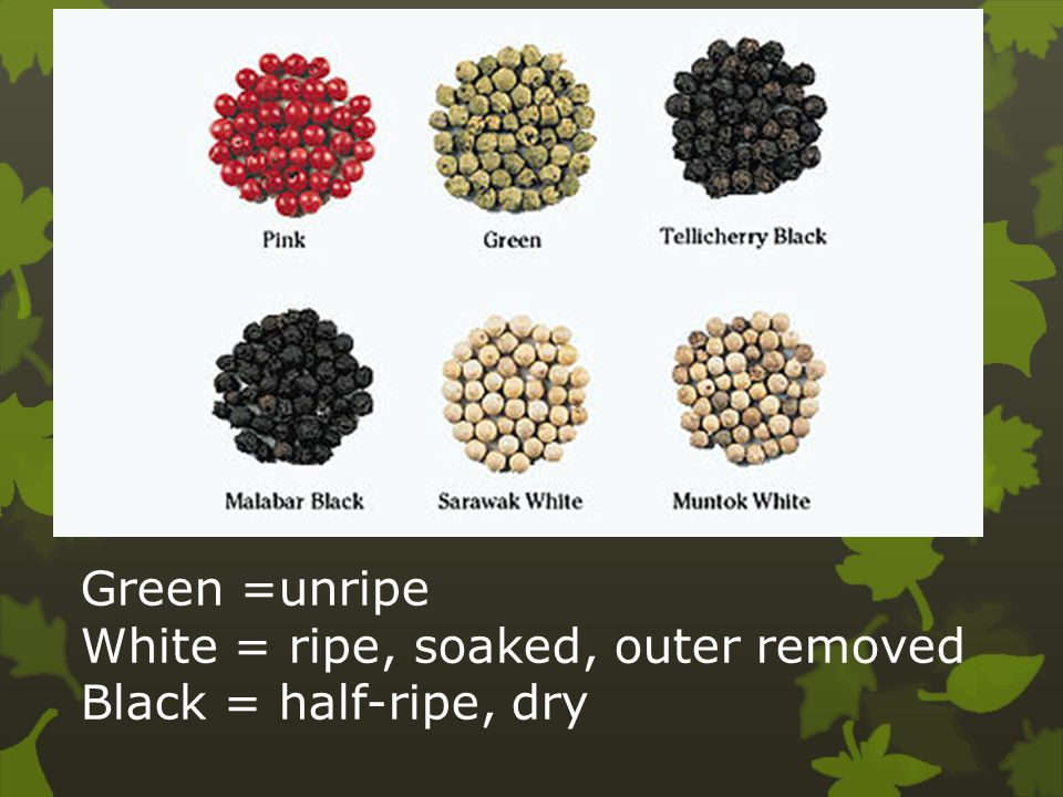 Green =unripe White = ripe, soaked, outer removed Black = half-ripe, dry