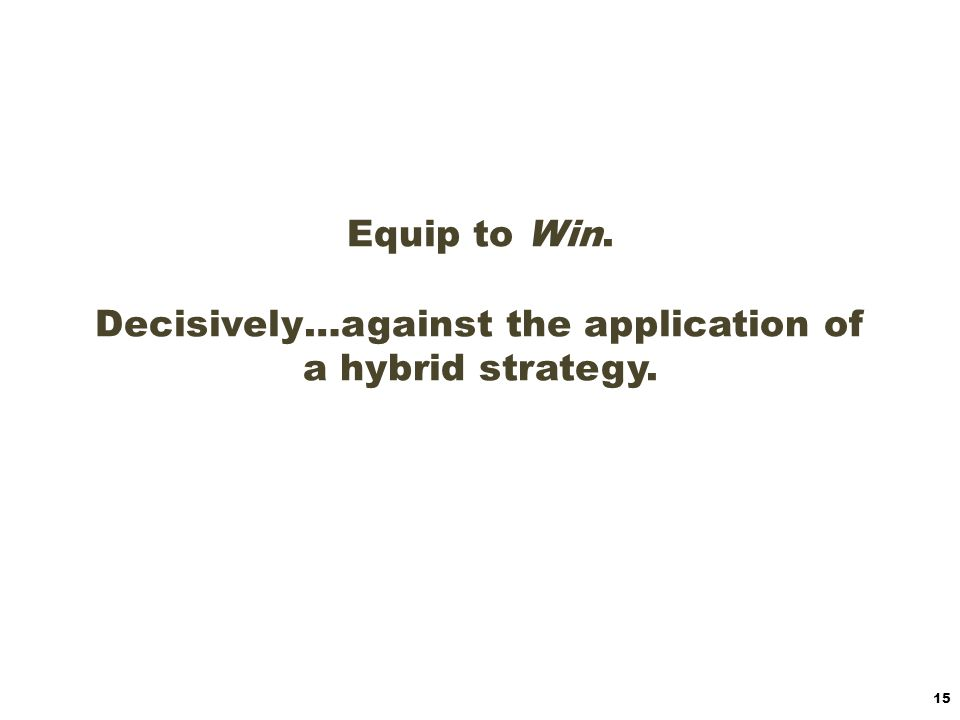 The equipping challenge: optimizing the available resources to adequately equip to address the strategy.
