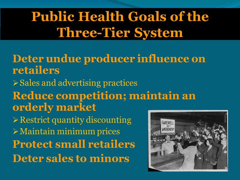 Wholesaler Tier  Under attack by big-box retailers and producers  In control states, operated by the state (either directly or through contract)  Highly profitable  Until recently, private wholesalers have been strong opponents of public health initiatives