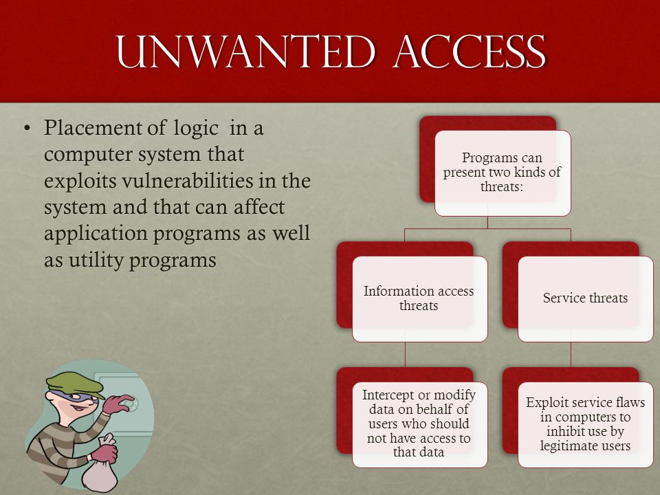 Unwanted Access Placement of logic in a computer system that exploits vulnerabilities in the system and that can affect application programs as well a