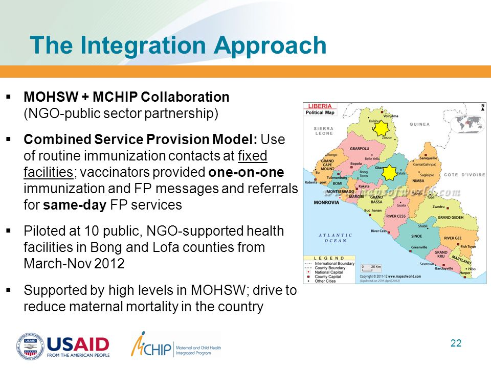 The Integration Approach  MOHSW + MCHIP Collaboration (NGO-public sector partnership)  Combined Service Provision Model: Use of routine immunization