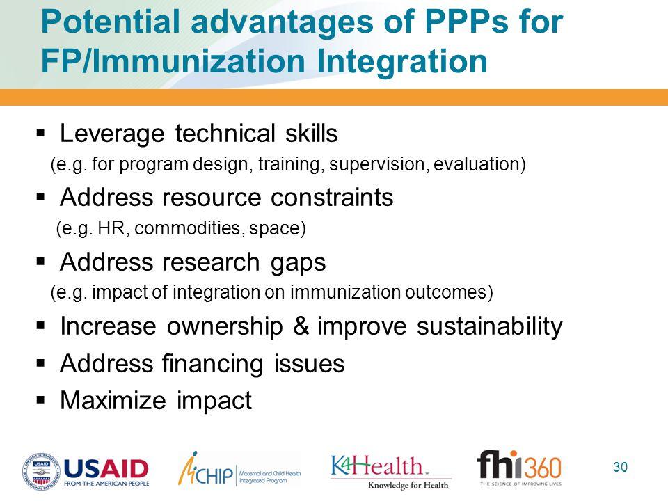 Potential advantages of PPPs for FP/Immunization Integration  Leverage technical skills (e.g. for program design, training, supervision, evaluation)