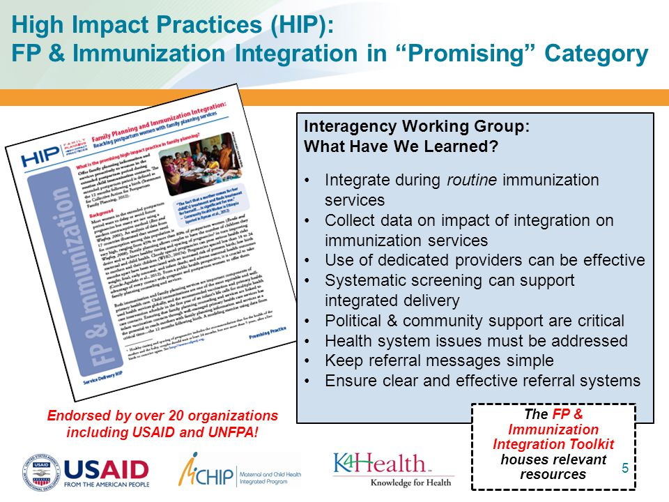 High Impact Practices (HIP): FP & Immunization Integration in Promising Category Interagency Working Group: What Have We Learned.