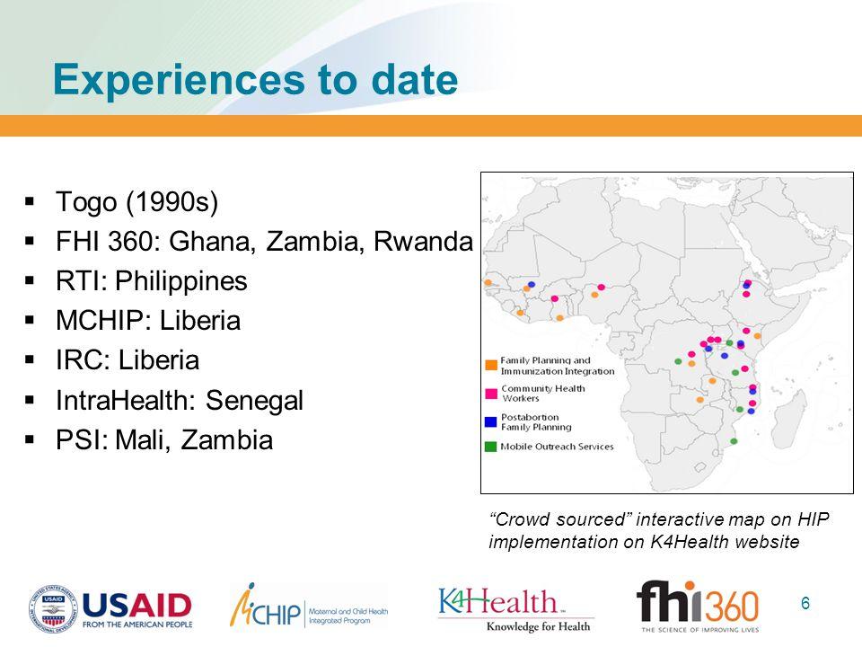 Experiences to date  Togo (1990s)  FHI 360: Ghana, Zambia, Rwanda  RTI: Philippines  MCHIP: Liberia  IRC: Liberia  IntraHealth: Senegal  PSI: M