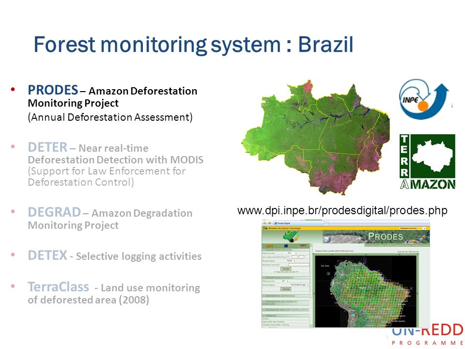Forest monitoring system : Brazil PRODES – Amazon Deforestation Monitoring Project (Annual Deforestation Assessment) DETER – Near real-time Deforestat