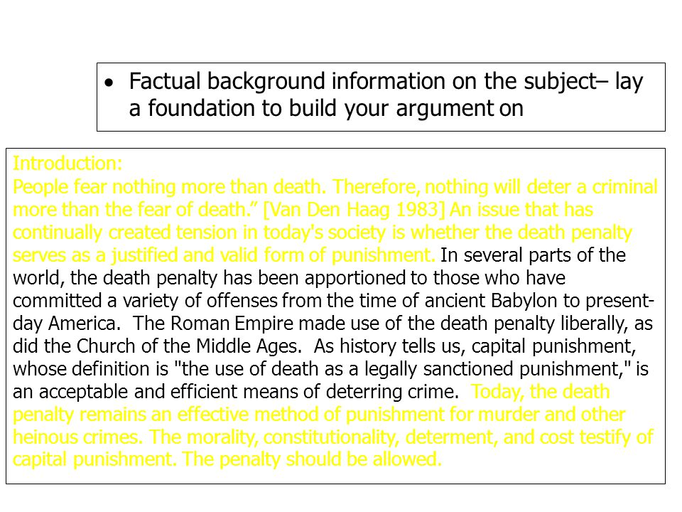  Factual background information on the subject– lay a foundation to build your argument on Introduction: People fear nothing more than death.