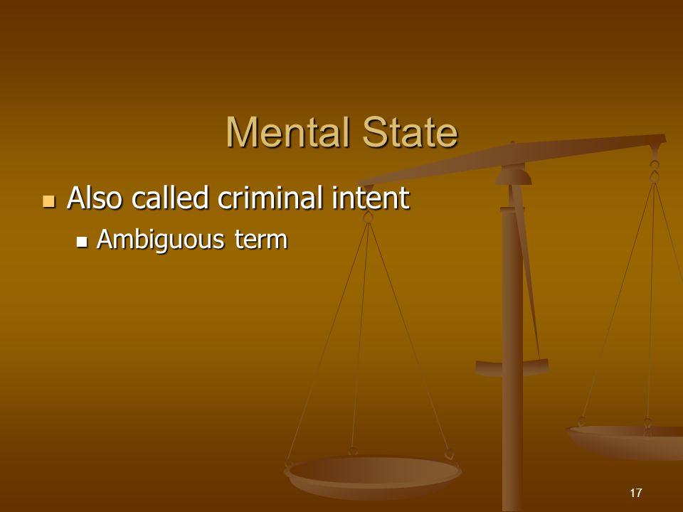 Mental State Four criminal mental states (Model Penal Code) Four criminal mental states (Model Penal Code) Purposeful Purposeful Knowing Knowing Reckless Reckless Negligent Negligent 18