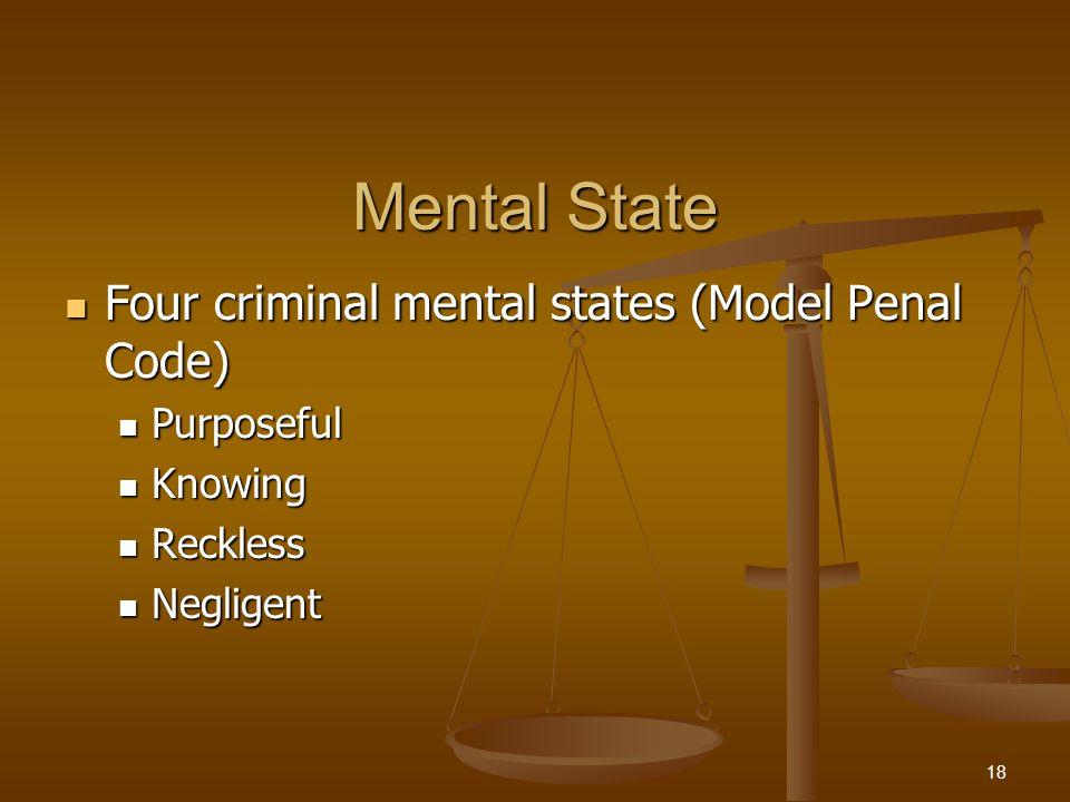 Mental State Four criminal mental states (Model Penal Code) Four criminal mental states (Model Penal Code) Purposeful Purposeful Knowing Knowing Reckl