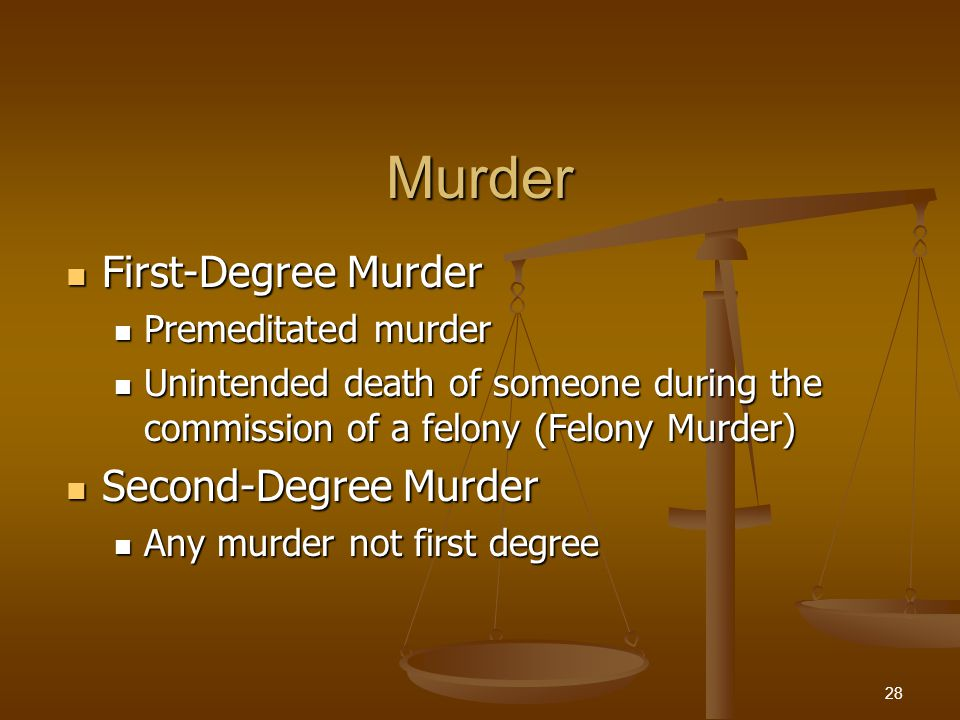 Murder First-Degree Murder First-Degree Murder Premeditated murder Premeditated murder Unintended death of someone during the commission of a felony (Felony Murder) Unintended death of someone during the commission of a felony (Felony Murder) Second-Degree Murder Second-Degree Murder Any murder not first degree Any murder not first degree 28