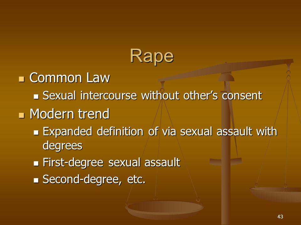 Rape Common Law Common Law Sexual intercourse without other's consent Sexual intercourse without other's consent Modern trend Modern trend Expanded de