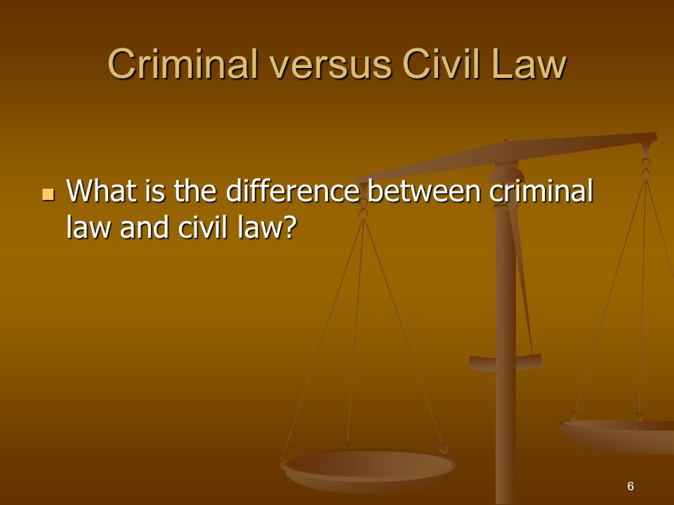 Criminal versus Civil Law Criminal LawCivil Law Brought ByGovernmentParty who has been wronged Burden of ProofBeyond a reasonable doubt More likely than not PenaltyJail, probation, fine or restitution Money damages or a court order 7