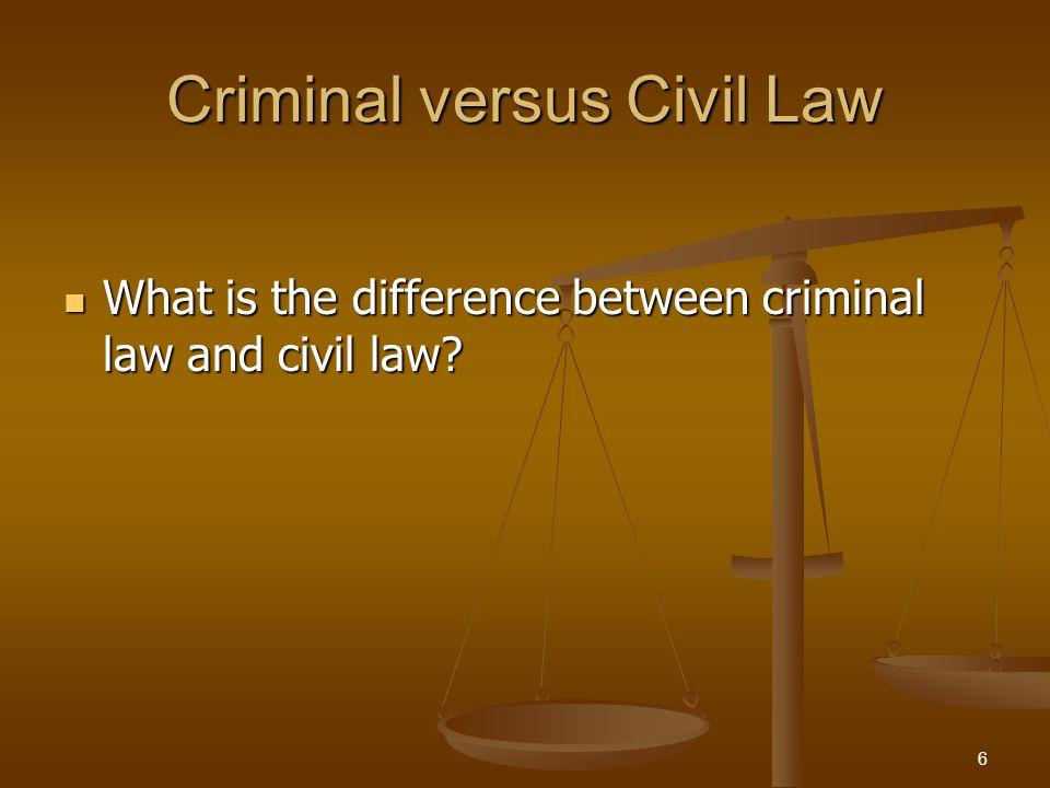 Criminal versus Civil Law What is the difference between criminal law and civil law? What is the difference between criminal law and civil law? 6