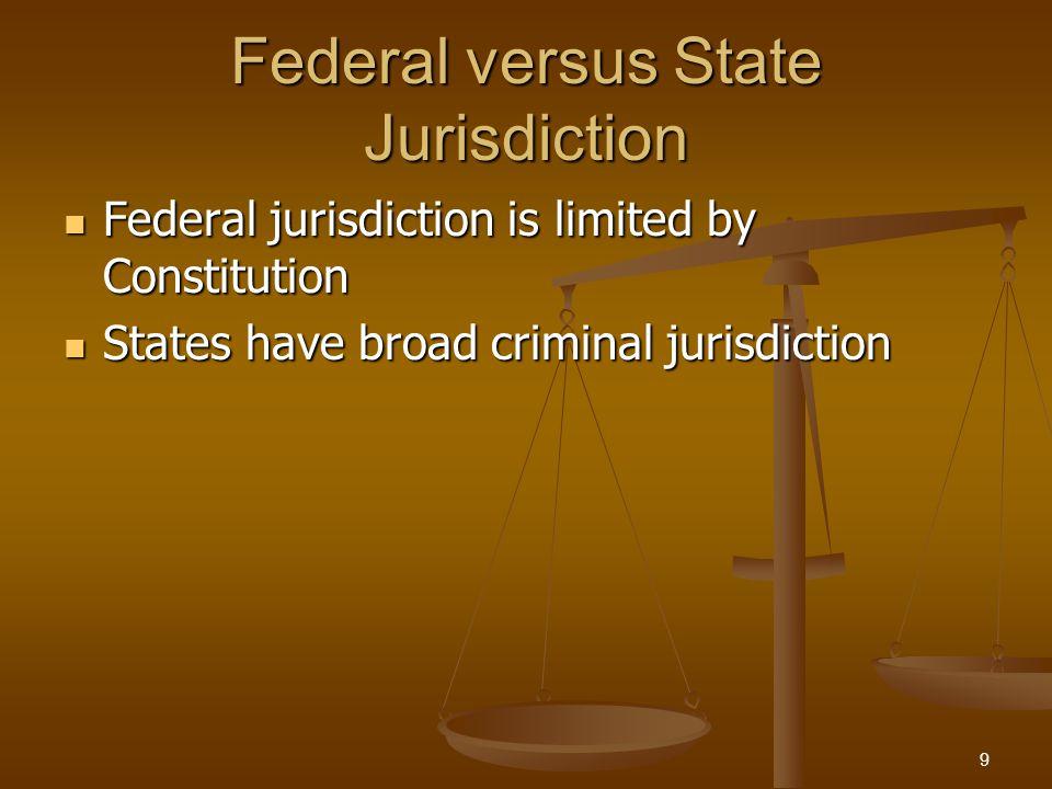 Federal versus State Jurisdiction Federal jurisdiction is limited by Constitution Federal jurisdiction is limited by Constitution States have broad criminal jurisdiction States have broad criminal jurisdiction 9