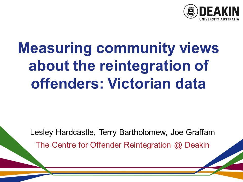 Measuring community views about the reintegration of offenders: Victorian data Lesley Hardcastle, Terry Bartholomew, Joe Graffam The Centre for Offender Reintegration @ Deakin