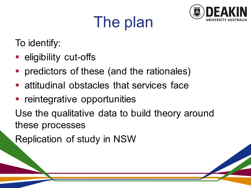 The plan To identify:  eligibility cut-offs  predictors of these (and the rationales)  attitudinal obstacles that services face  reintegrative opportunities Use the qualitative data to build theory around these processes Replication of study in NSW
