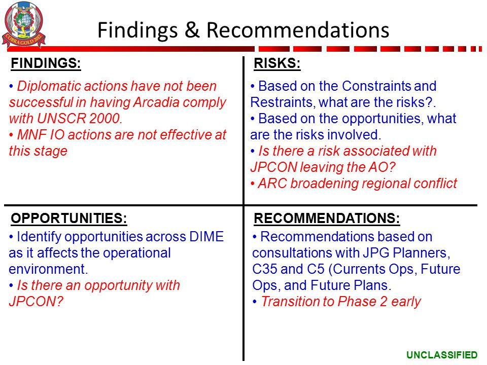 UNCLASSIFIED Findings & Recommendations FINDINGS:RISKS: OPPORTUNITIES:RECOMMENDATIONS: Diplomatic actions have not been successful in having Arcadia comply with UNSCR 2000.
