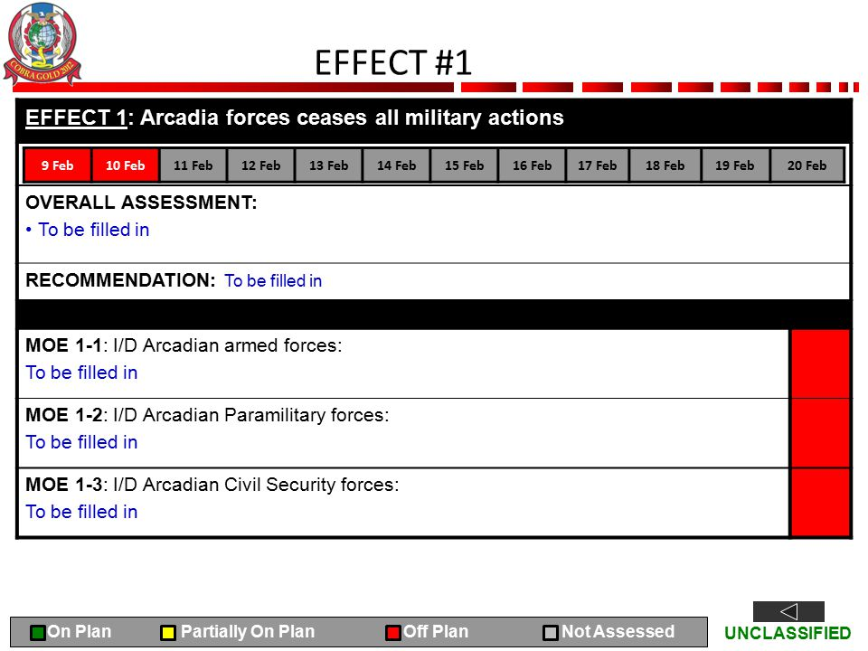 UNCLASSIFIED EFFECT #1 EFFECT 1: Arcadia forces ceases all military actions OVERALL ASSESSMENT: To be filled in RECOMMENDATION: To be filled in MOE 1-