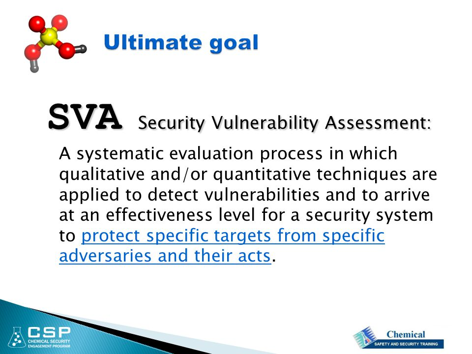 SVA Security Vulnerability Assessment: A systematic evaluation process in which qualitative and/or quantitative techniques are applied to detect vulne