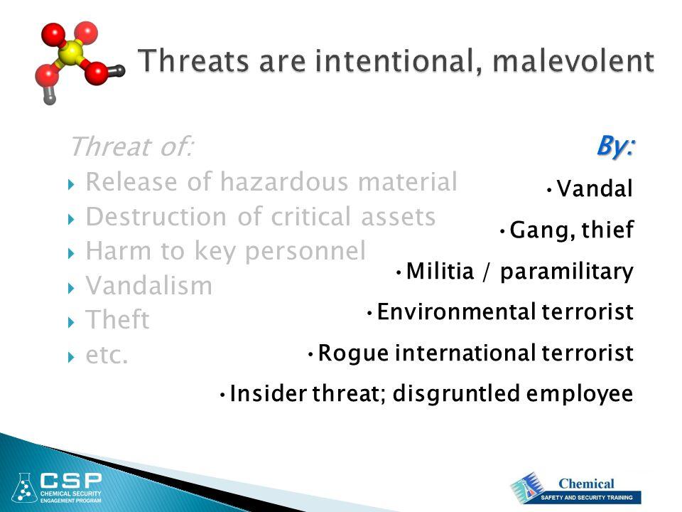 Threat of:  Release of hazardous material  Destruction of critical assets  Harm to key personnel  Vandalism  Theft  etc.