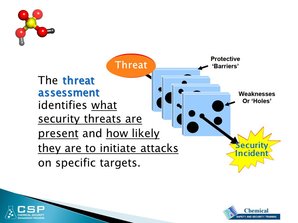 threat The threatassessment identifies what security threats are present and how likely they are to initiate attacks on specific targets.