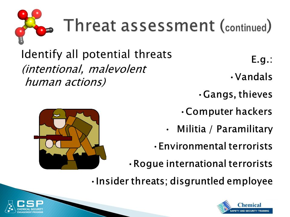 E.g.: Vandals Gangs, thieves Computer hackers Militia / Paramilitary Environmental terrorists Rogue international terrorists Insider threats; disgruntled employee Identify all potential threats (intentional, malevolent human actions)