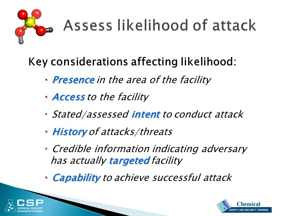 Key considerations affecting likelihood:  Presence  Presence in the area of the facility  Access  Access to the facility intent  Stated/assessed
