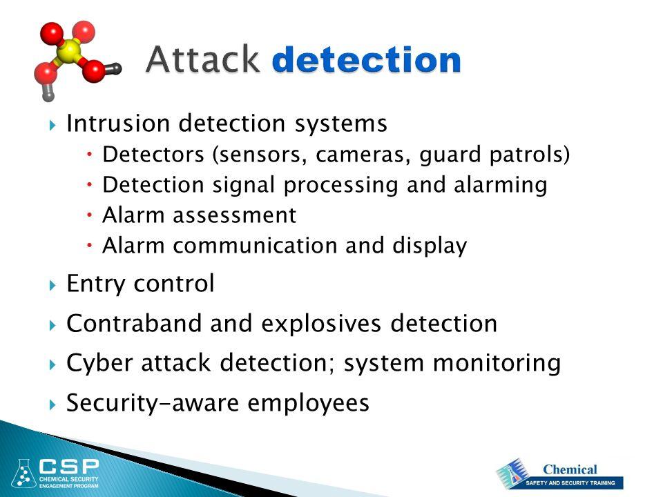  Intrusion detection systems  Detectors (sensors, cameras, guard patrols)  Detection signal processing and alarming  Alarm assessment  Alarm comm