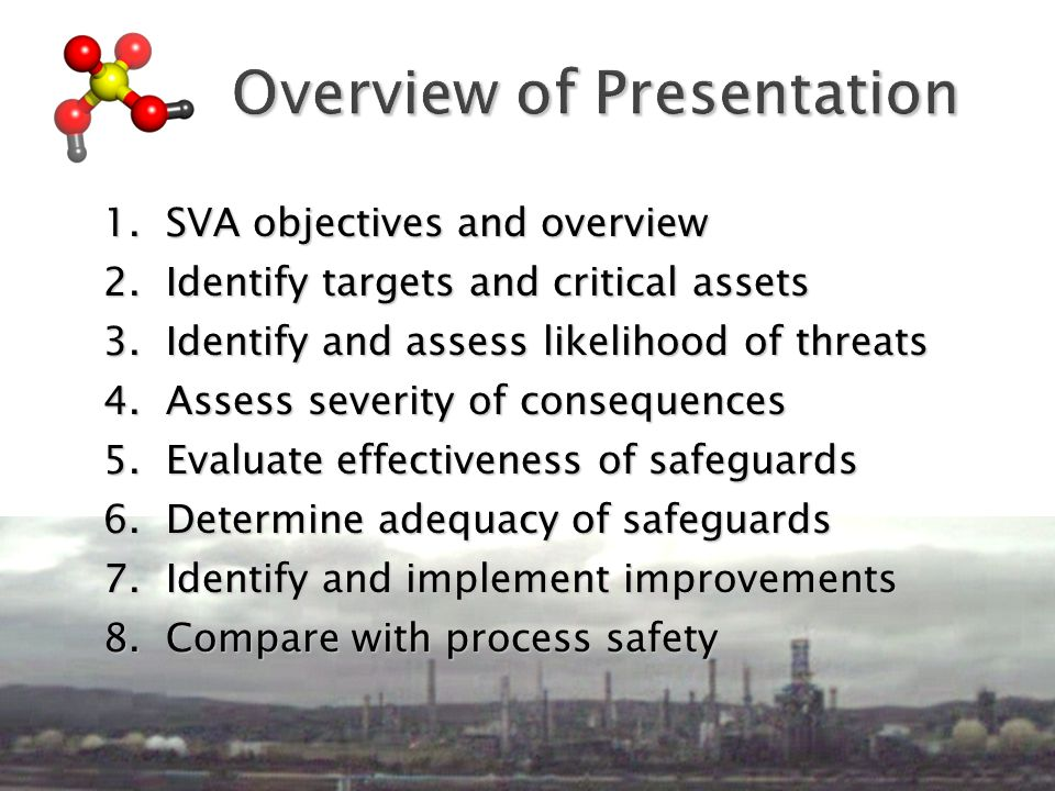 1. SVA objectives and overview 2. Identify targets and critical assets 3.