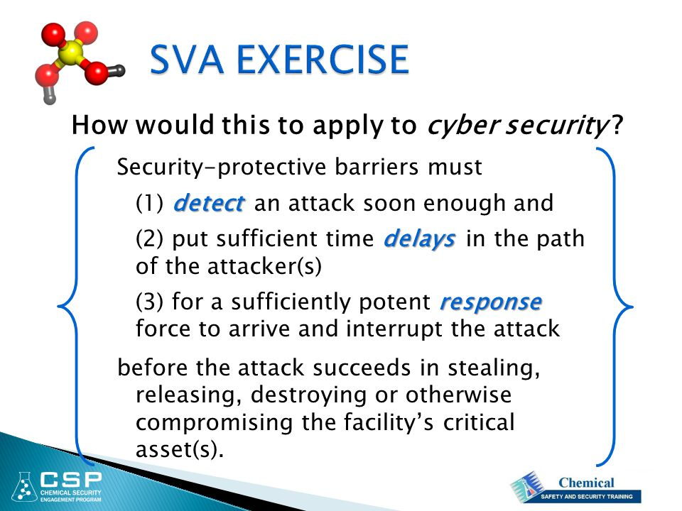 Security-protective barriers must detect (1) detect an attack soon enough and delays (2) put sufficient time delays in the path of the attacker(s) response (3) for a sufficiently potent response force to arrive and interrupt the attack before the attack succeeds in stealing, releasing, destroying or otherwise compromising the facility's critical asset(s).