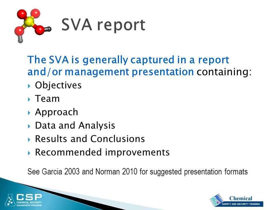The SVA is generally captured in a report and/or management presentation containing:  Objectives  Team  Approach  Data and Analysis  Results and Conclusions  Recommended improvements See Garcia 2003 and Norman 2010 for suggested presentation formats